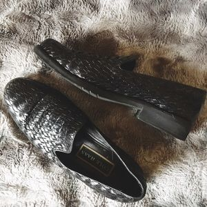 Cole Haan Black Woven Leather Penny Loafers 👞